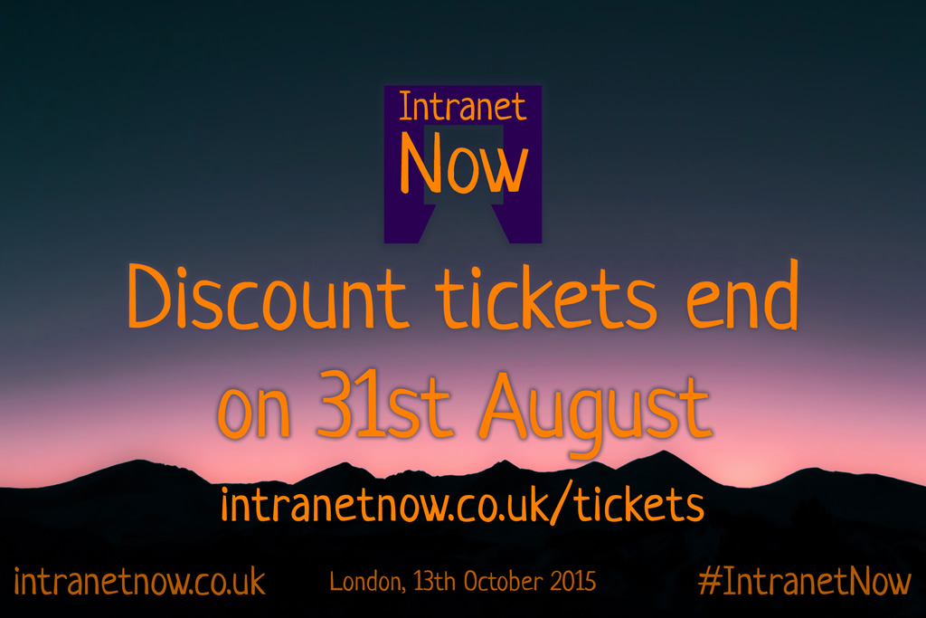 Discount tickets end on the 31st August.